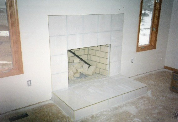 Fireplace with raised hearth
